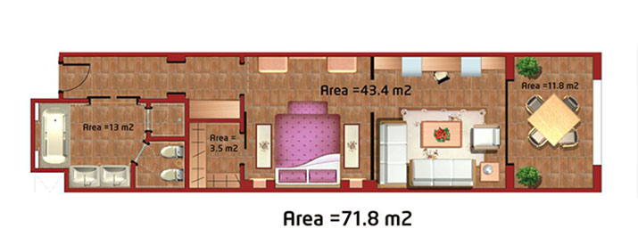 Sunwing Waterworld Makadi - Junior Suite room plan